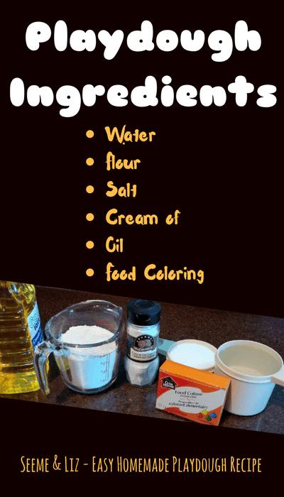 Easy Homemade Playdough Recipe - Ingredients