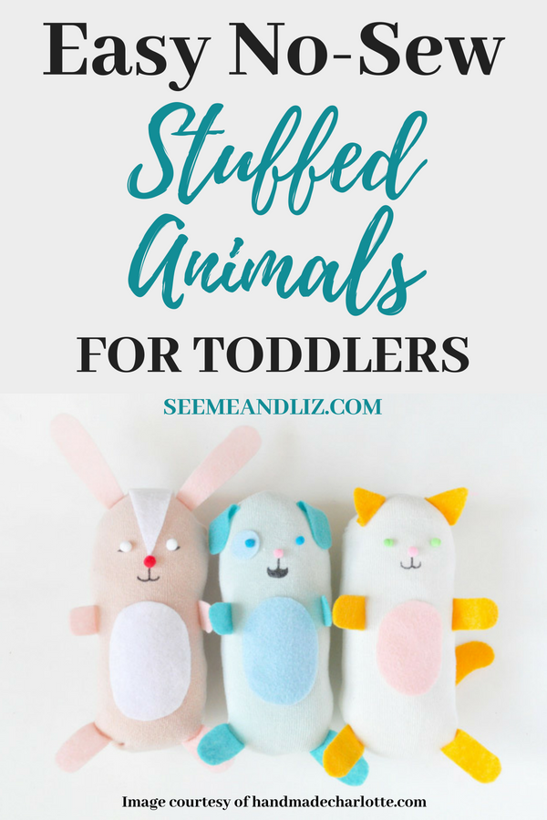 diy no sew stuffed animals with text overaly