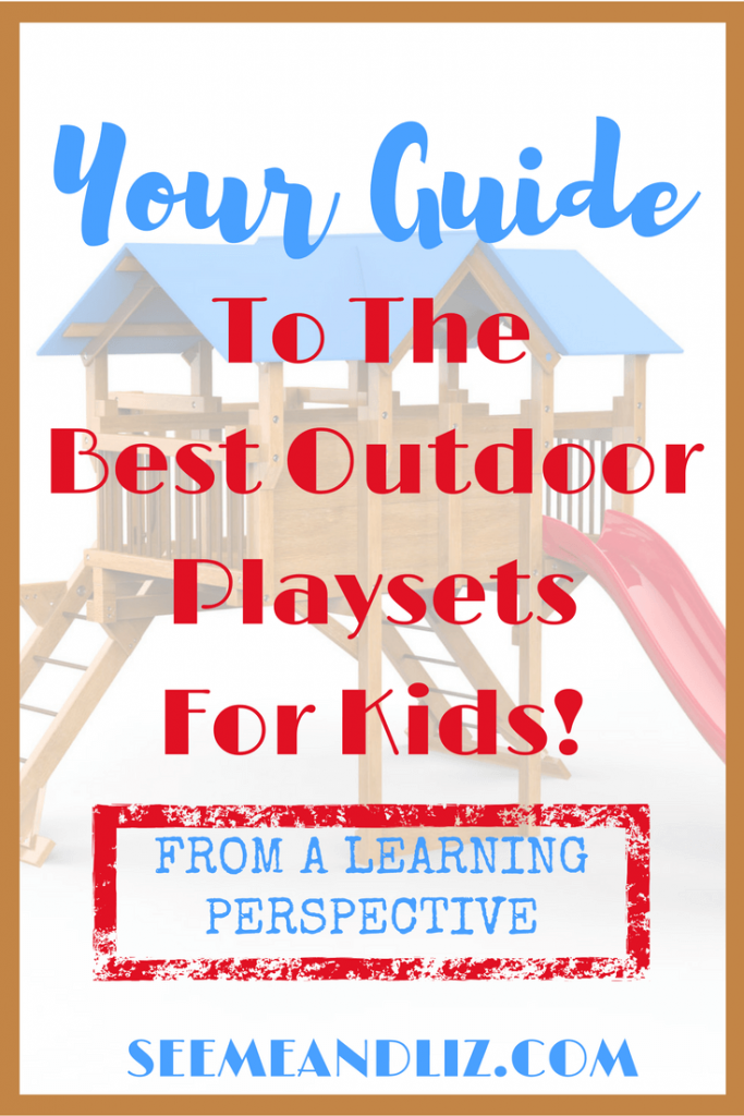 Kids will love being outside with these fun outdoor playsets for kids! Speech & Language Development, gross motor development, social skills, pretend play.