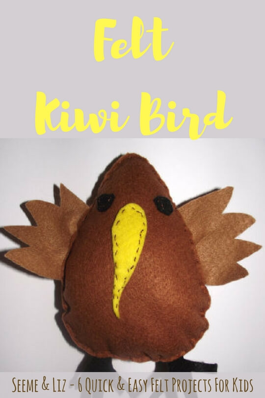 6 quick & easy felt projects for kid. This is an adorable felt kiwi bird. Plus learn about playtime felts and how they can help with speech-language development
