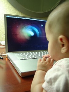 baby playing computer games