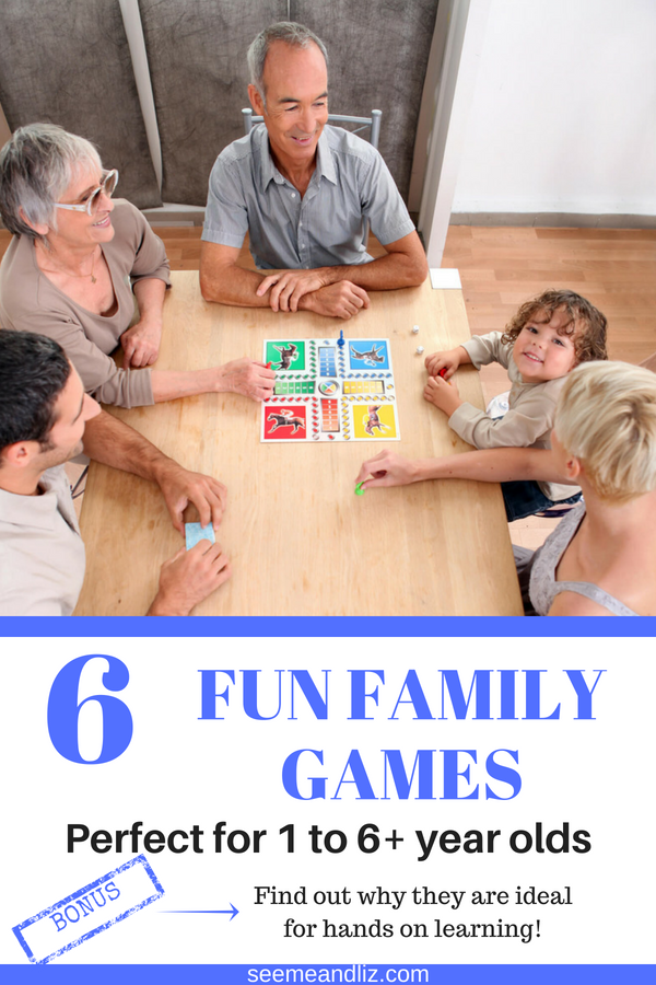 family playing games with text overlay