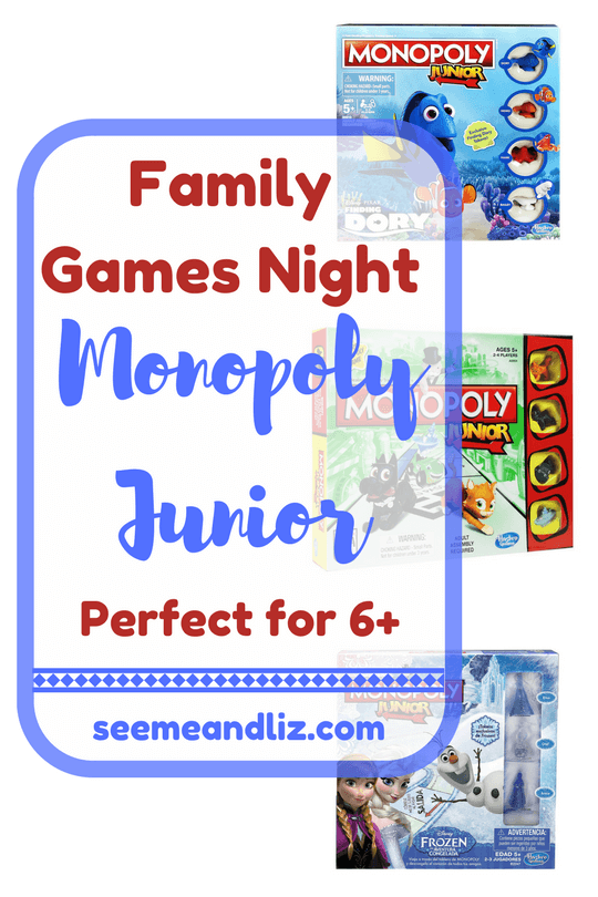 Family Game Night Game Ideas for kids. Monopoly Junior for 6 and up