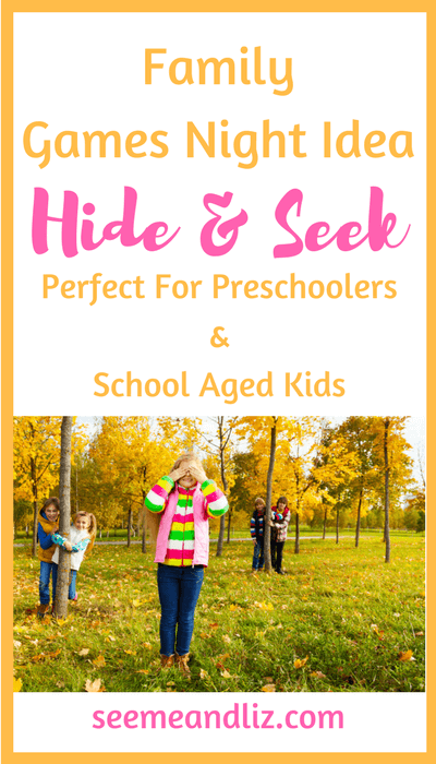 Family Games Night Idea for preschoolers & school aged kids - hide and seek
