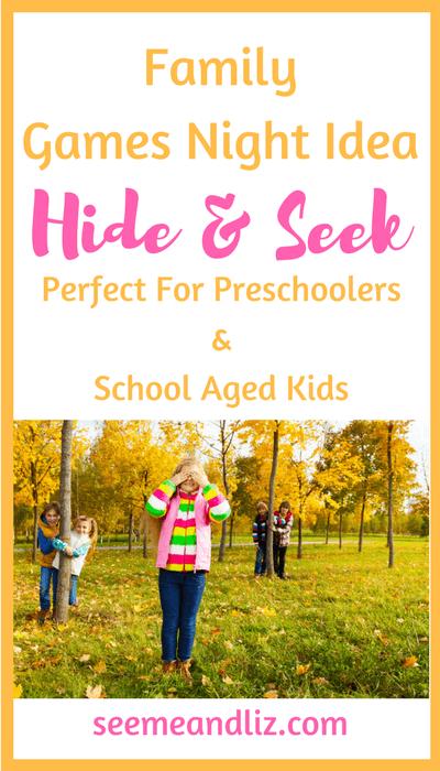Family Games Night Idea for preschoolers & school aged kids - hide and seek