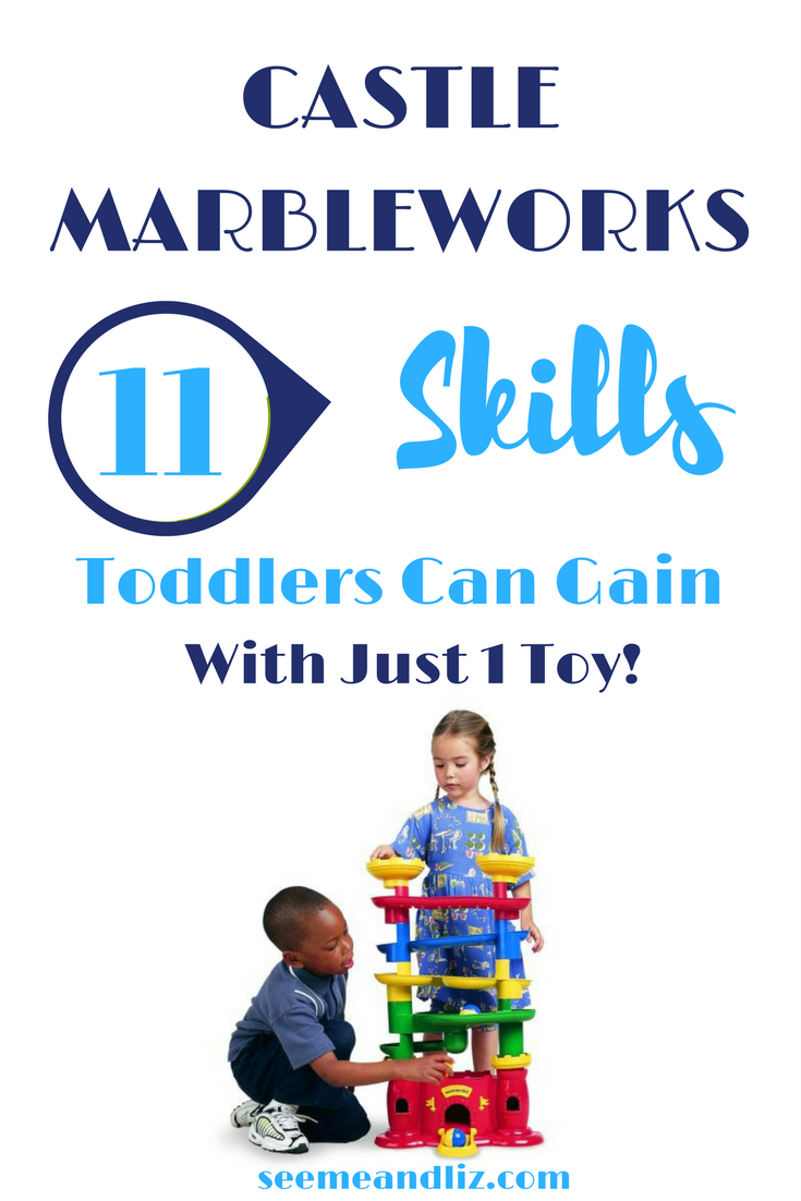 Marble runs for kids, and even toddlers are a STEM activity and great for learning new skills. Click to find out 11 skills your toddler can gain with Castle Marbleworks marble run from Discovery Toys