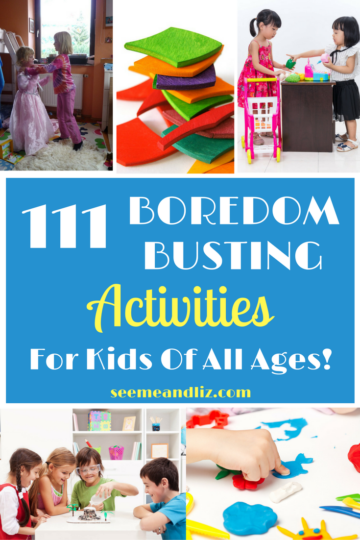 111 Boredom busting activities for kids of all ages! Bonus activities with downloadable PDF! Click for your copy! #kidsactivities #learningthroughplay