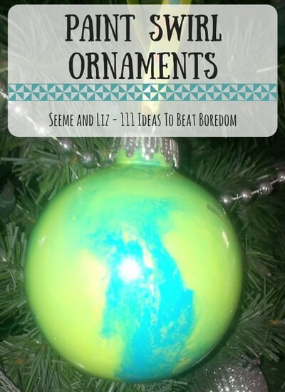 111 Ideas For What to do when kids are bored - make paint swirl christmas ornaments