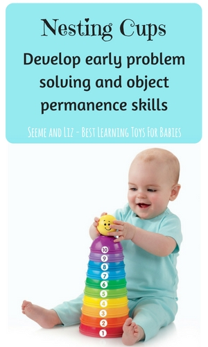 Nesting cups for babies facilitate early problem solving and object permanence