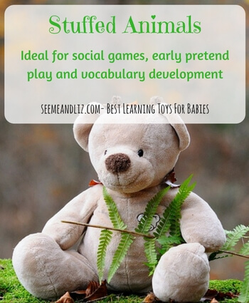 Stuffed animals for babies aren't just for comfort. They are great for social games, early pretend play, vocabulary development, etc.