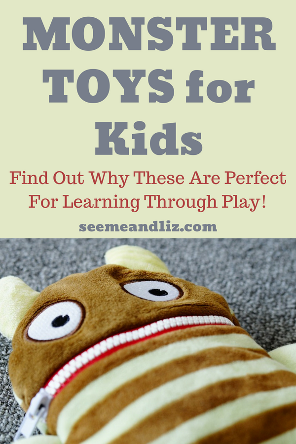 monster toy for kids with text overlay