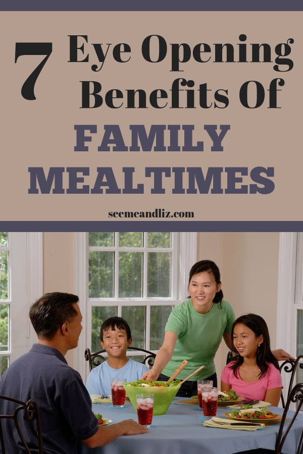 Family meal time with text overlay