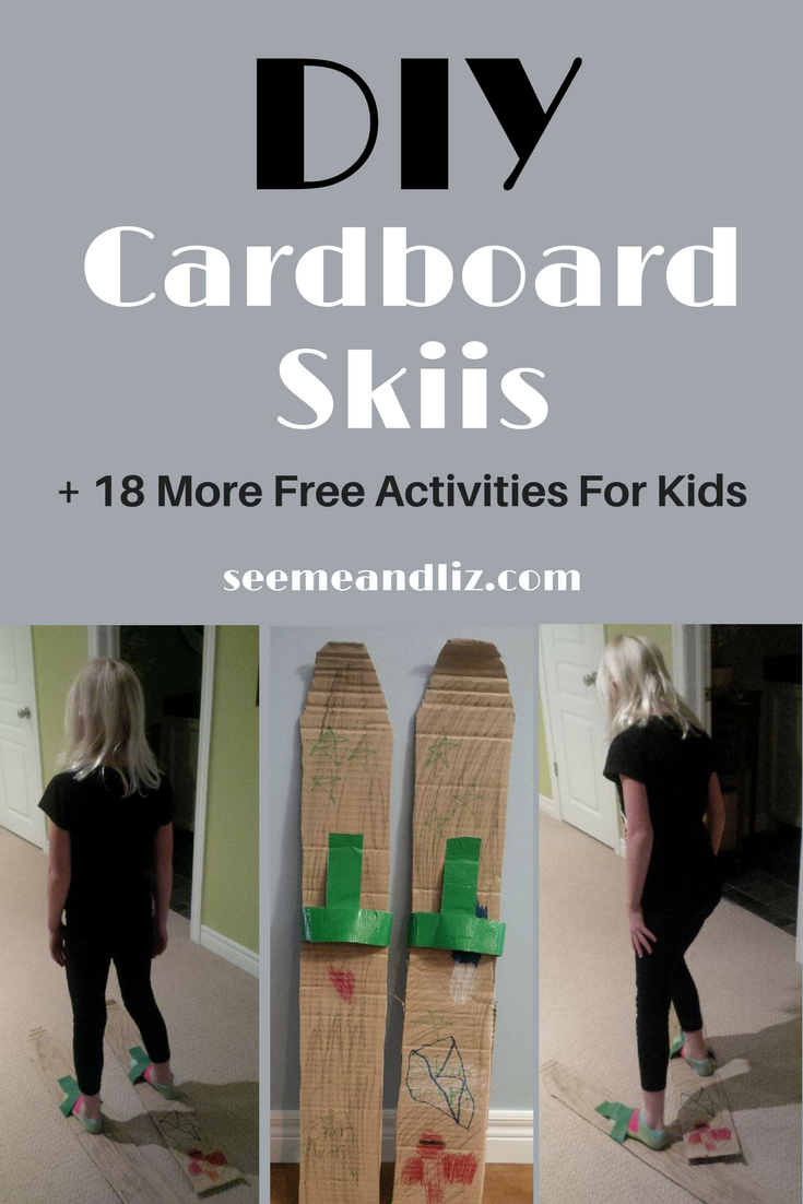 Free games and activities to play with kids DIY cardboard skiis