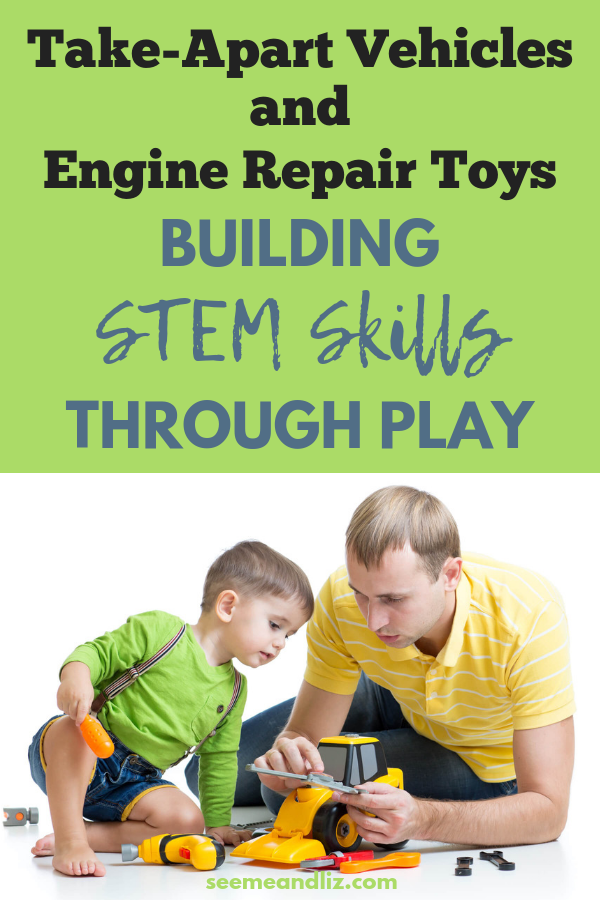 Boy and father putting together toy tractor with text overaly