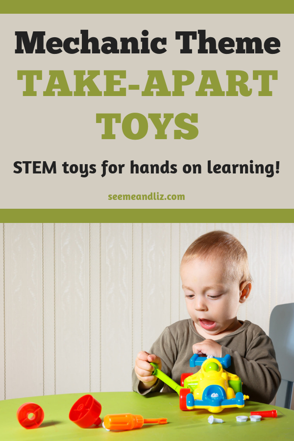toddler boy assembling toy car with text overlay
