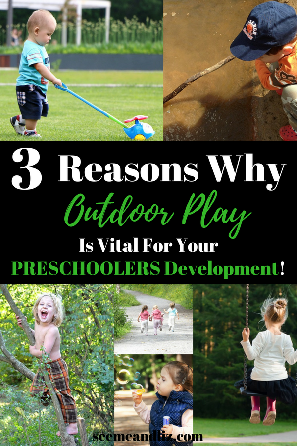 collage of preschoolers playing outside with text overlay