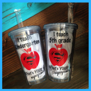 Personalized teacher plastic tumbler year end teacher gift idea