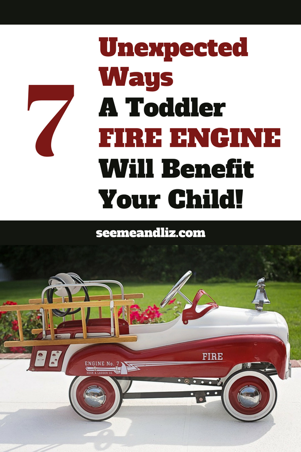 Toddler ride on fire engine with text overlay