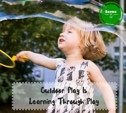 benefits of outdoor play for preschooler blowing bubbles