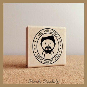 male teacher appreciation gift rubber stamp