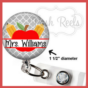 retractable personalized teacher badge key holder