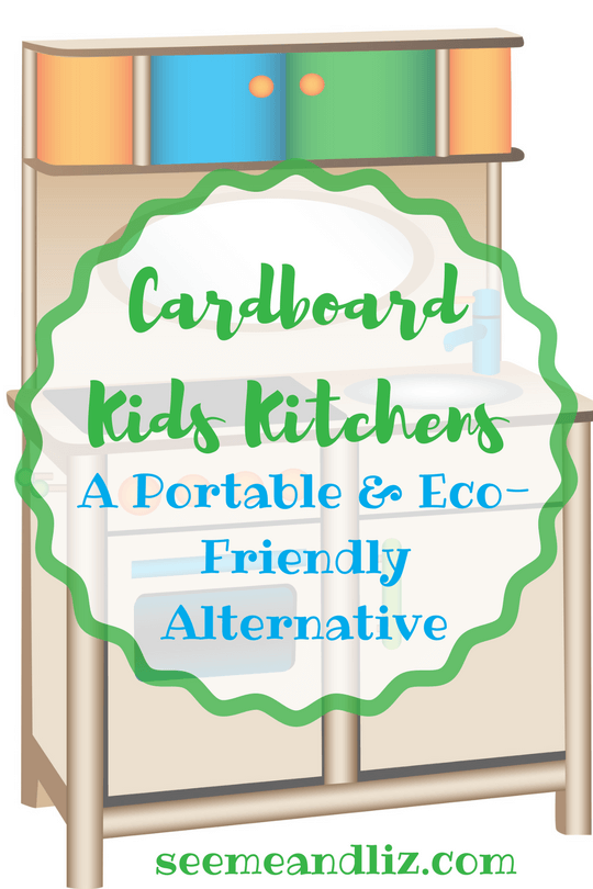 Cardboard kids kitchens are an open ended learning toy. They also are a good portable and eco-friendly alternative to traditional play kitchens.