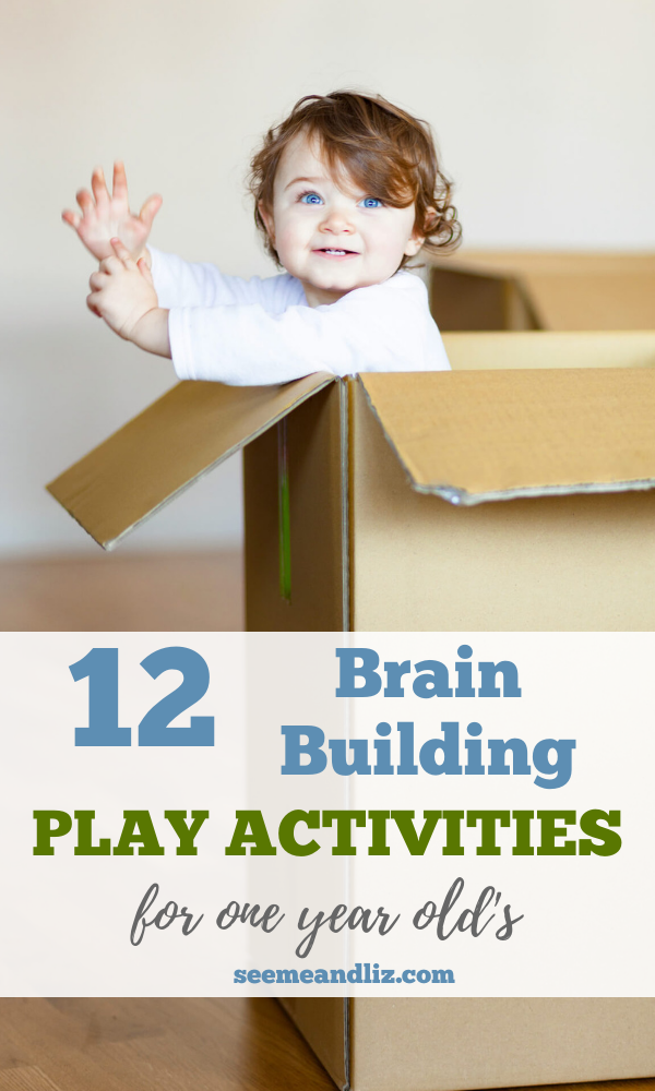 Toddler playing in cardboard box with text overaly