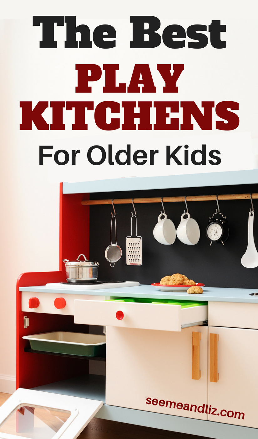 Kids play kitchen with text overlay