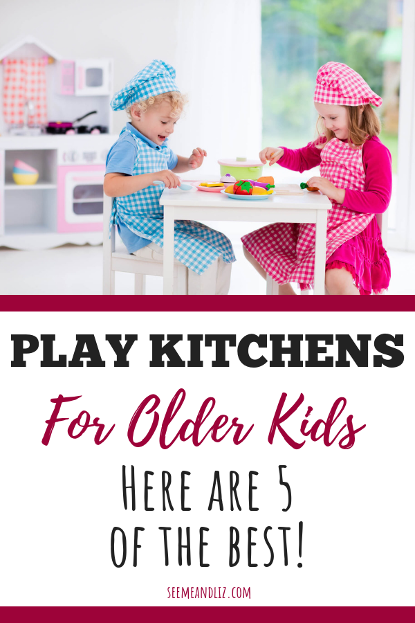 Kids pretending with toy kitchen text overlay