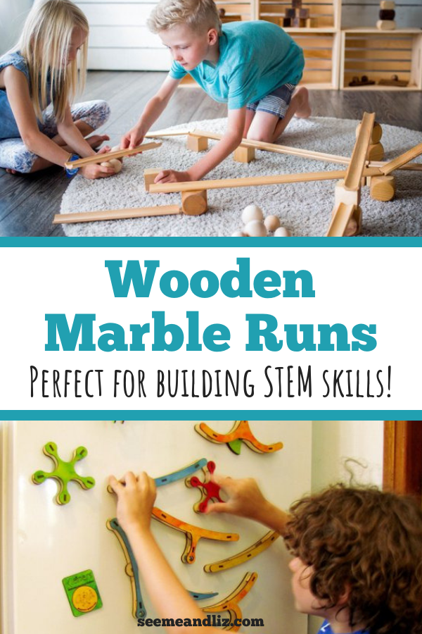 Kids playing with wood marble run sets with text overlay