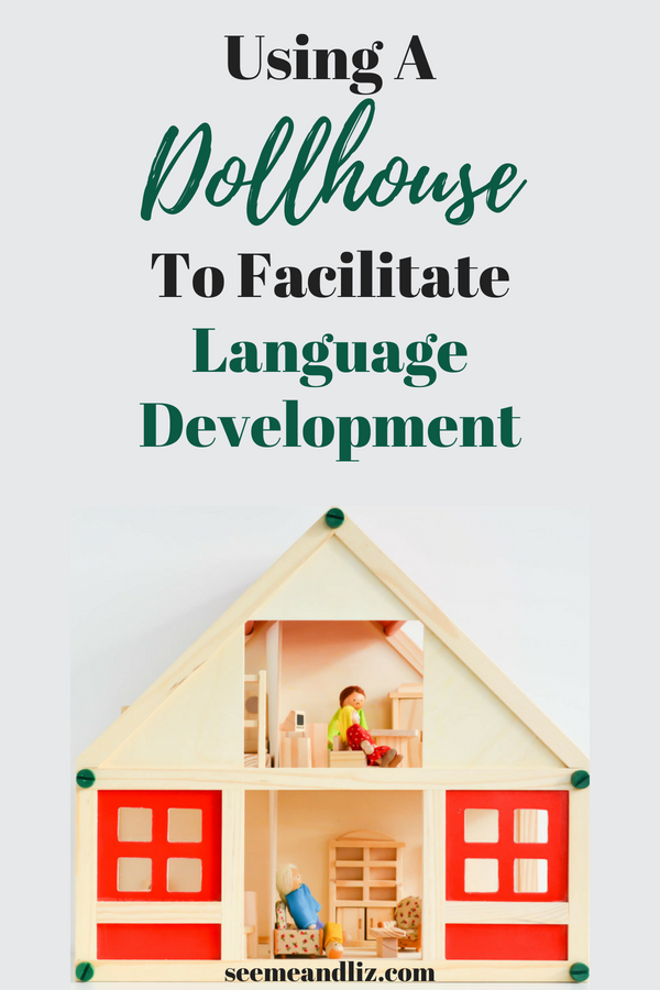 Wooden doll house with text overlay