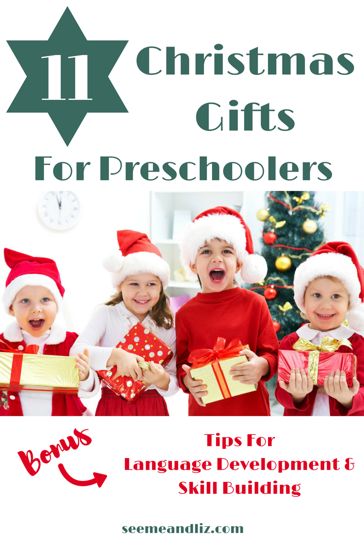 11 Christmas Gift Ideas For Preschoolers. Find out how each toy will help with speech-language development and learning! #chrismasgifts #christmas #preschool