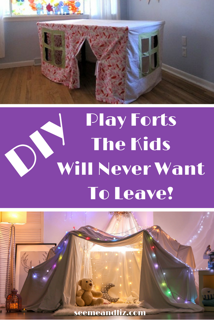 DIY Indoor Play Forts For Kids! Watch your kids imagination soar with these! Click to see how to make 7 forts #diytoys #kidsactivities