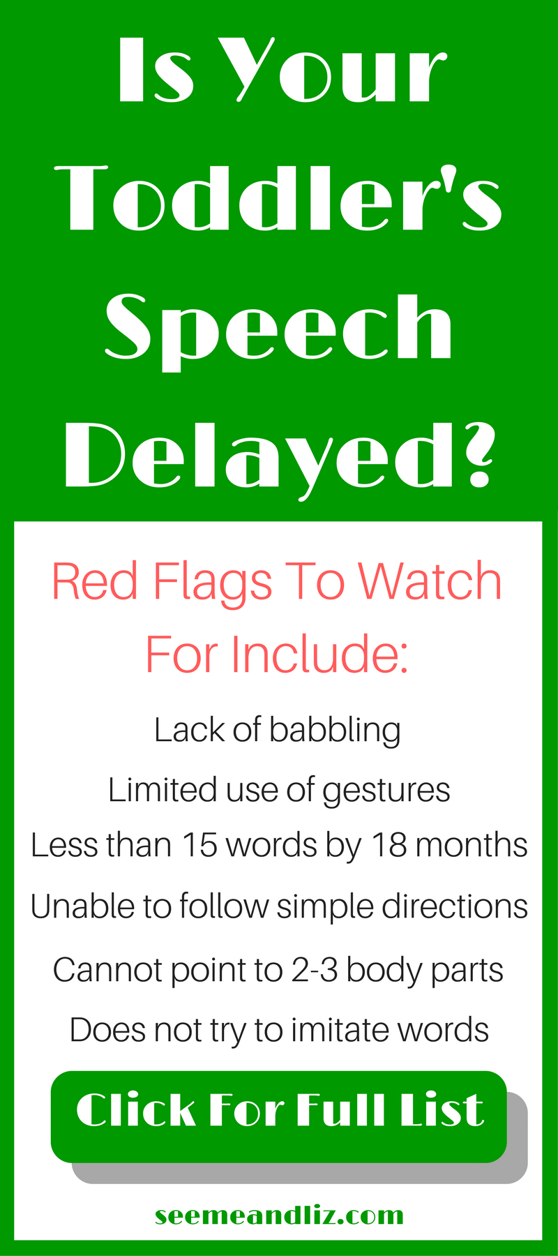 Are You Concerned Your Toddler May Have A Speech/Language Delay? Click for all 19 red flags to watch for!