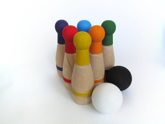 Rainbow wooden bowling game - perfect christmas gift idea for toddlers