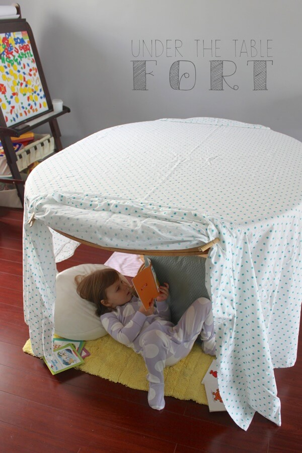 indoor play for kids like under the table fort