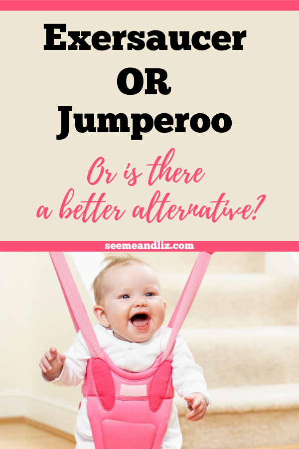 baby in jumperoo with text overlay