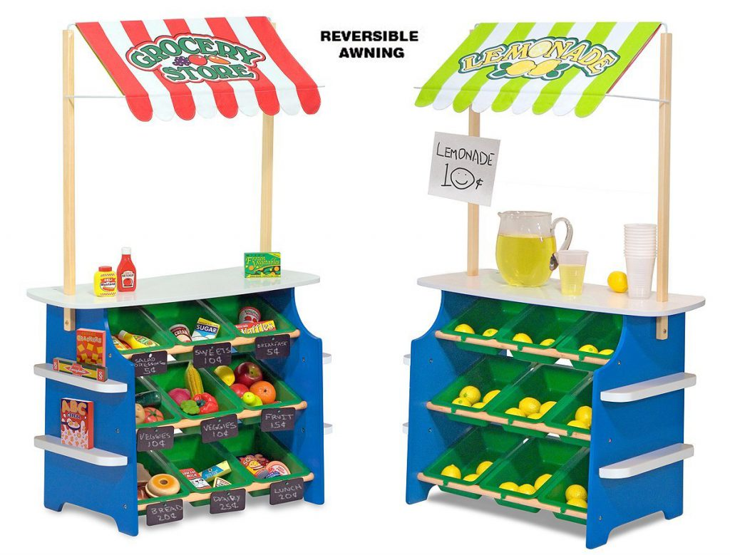 Here's what you need for a pretend kids market - grocery stand