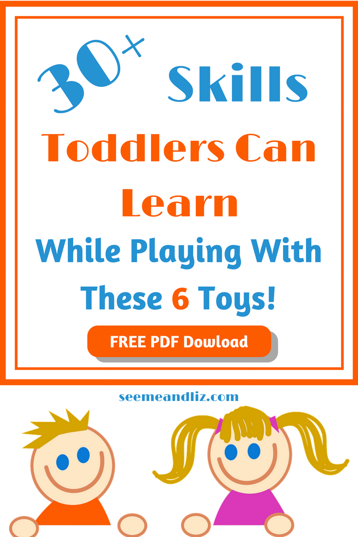 These educational toddler toys are the best for learning through play. Click to see the 30+ skills your 2 year old can learn by playing with 6 simple toys. | #toddlertoys | #learningthroughplay