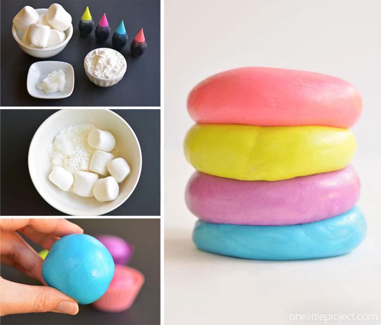 Simple 3 ingredient marshmallow playdough recipe