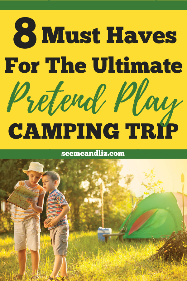 Kids pretending to camp with text overlay