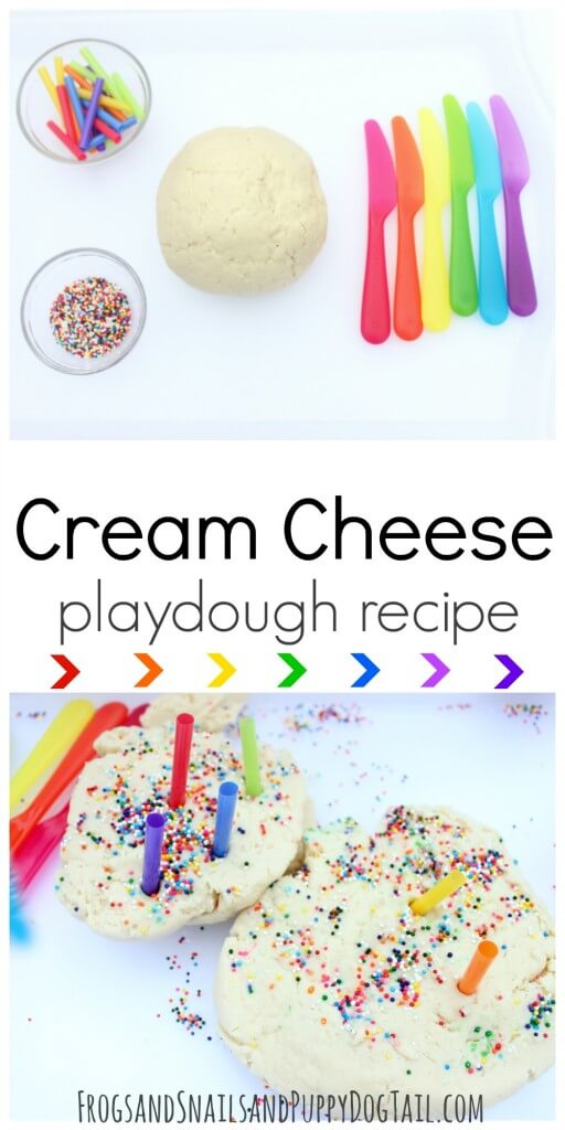 This edible cream cheese playdough is a great way to use up the cream cheese that's about to expire.