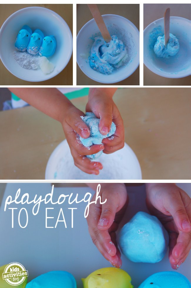 Peeps edible playdough recipe is very similar to marshmallow playdough and tastes just as good.