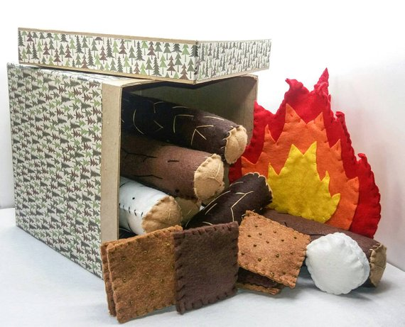 pretend play felt campfire for kids