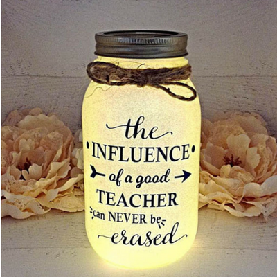 Handmade Teacher mason jar light year end gift idea
