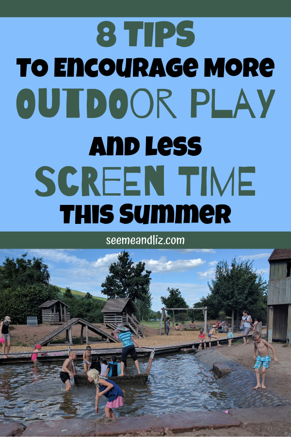 Kids playing in water with text overlay pinterest image