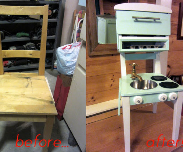 Compact kids kitchen made from old chair
