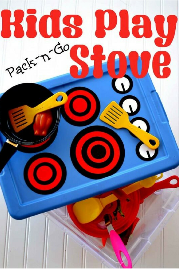 DIY Kids Play Stove - uses plastic storage bin and is super easy to make!