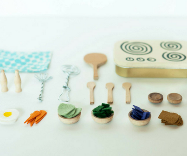 Tiny kids play kitchen set made with mint tin and other accessories