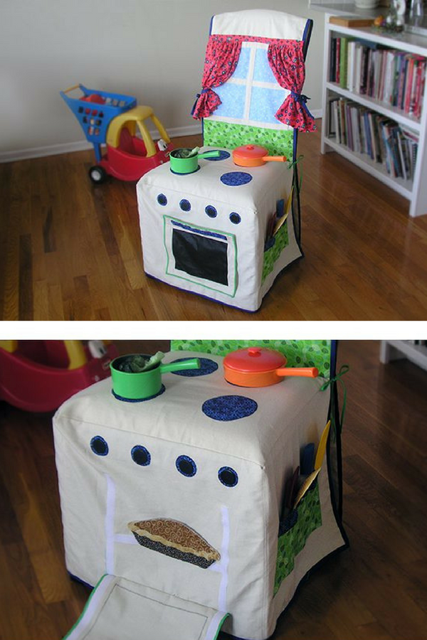Make a DIY play kitchen with a chair and slipcover!